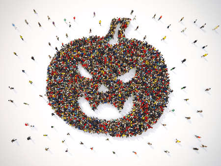 Many people together in a pumpkin shape. 3D Rendering