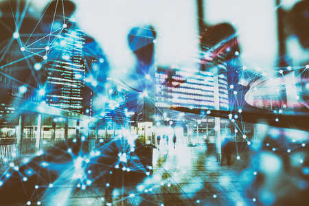 Abstract network background concept with double exposure and network effects Stock Photo