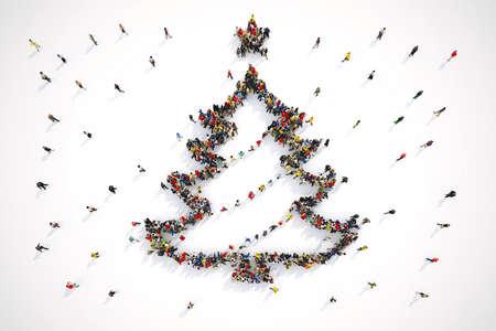Les gens forment la forme d'un arbre de Noël. Rendu 3D