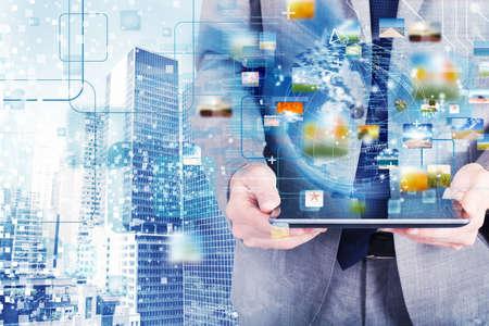 Concept de réseau de connexion internet avec tablette Banque d'images