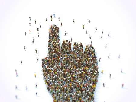 Crowd of people united forming a hand pointing. 3D Rendering Archivio Fotografico - 126394522