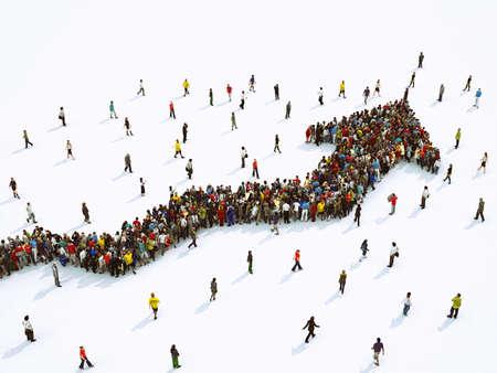 Foule de gens unis formant une flèche croissante. Rendu 3D
