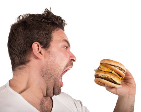 Hongerige man Stockfoto