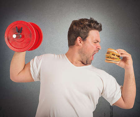 Weights vs sandwich Stock Photo