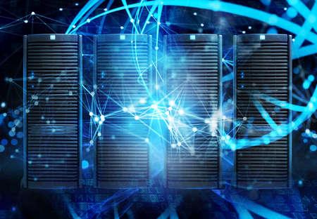 Concetto di una sala data center con server di database ed effetti di rete.