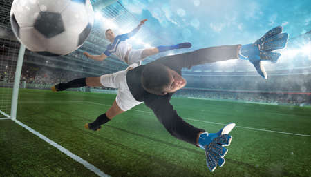 Goalkeeper catches the ball in the stadium during a football game Standard-Bild