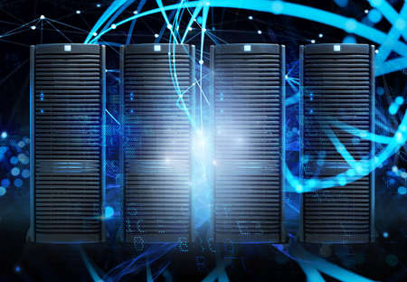 Concept of a data center room with database server and network effects. Imagens - 127025465