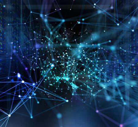 Concepto de sala de centro de datos con servidores y efectos de red.