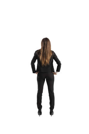 Back of a businesswoman. Isolated on white background Reklamní fotografie