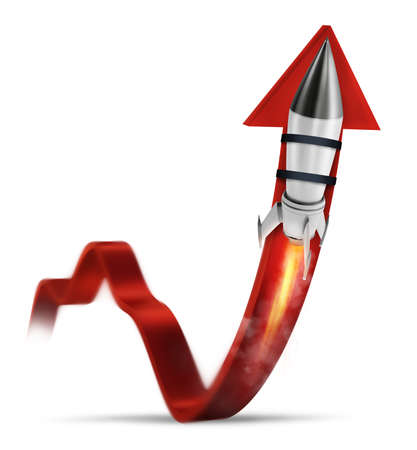 Rocket helps to improve business statistic to grow up Imagens