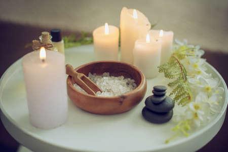 Salt Spa treatment set on wooden table