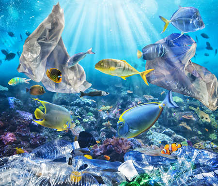 Fishes swims with floating bags. Problem of plastic pollution under the sea concept. Standard-Bild