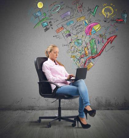 Businesswoman analyzing profits