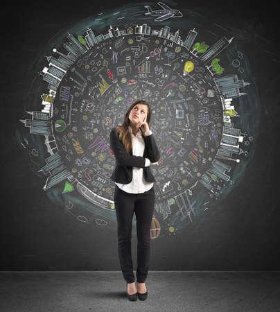 Businesswoman thinks business world