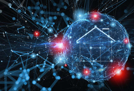 Sphere shield protects personal information and internet home network from web attack. Concept of internet security firewall and. Zdjęcie Seryjne
