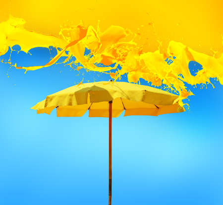 Cool fresh background for summer with yellow umbrella Stock fotó