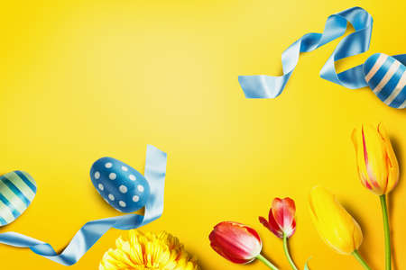 Easter decoration composition in yellow style color