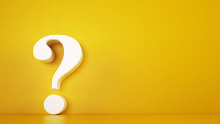 Big white question mark on a yellow background. 3D Rendering Stockfoto - 128603210