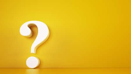 Duży biały znak zapytania na żółtym tle. Renderowanie 3D