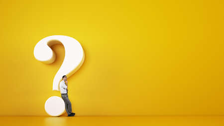 Man leaning on a big white question mark on a yellow background. 3D Rendering Stock Photo