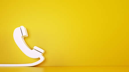 3D icon of a big telephone handset on yellow background. Rendering Banco de Imagens