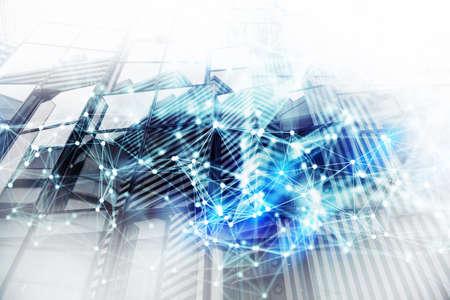 Concept abstrait de fond de réseau avec double exposition et effets de réseau