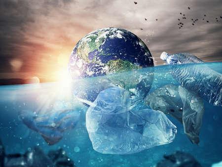 De aarde drijft in de zee vol plastic. Bewaar het woord