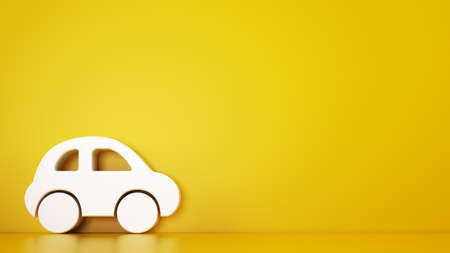 Rendering of a yellow background with white 3D toy car, automotive services concept