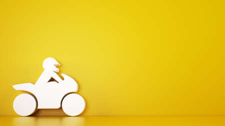 Rendering of a yellow  with white 3D toy motorcycle, automotive services concept Stock Photo