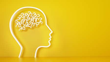 Grande testa con punti interrogativi all'interno del cervello su un giallo