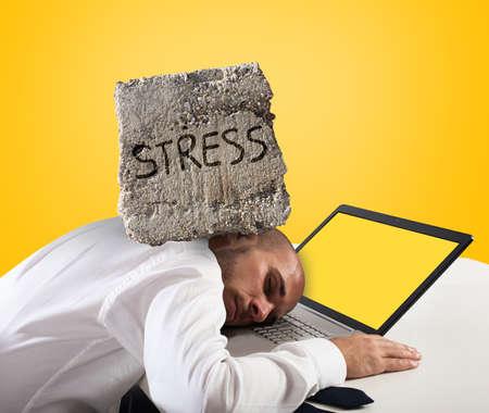 Businessman sleeping on a computer. Stress and overwork concept.