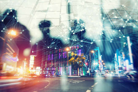Abstract network concept with double exposure and network effects