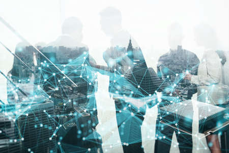 Network concept with business people silhouette. Standard-Bild