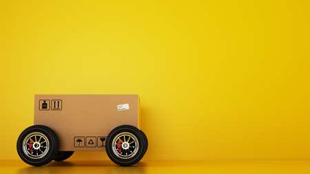 Caja de cartón con ruedas de carreras como un coche sobre un amarillo.