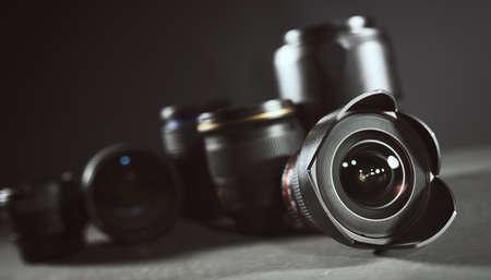 Professional set of lens for reflex camera 版權商用圖片