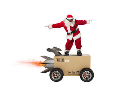 Sants Claus and super fast delivery of package service with box like a rocket.