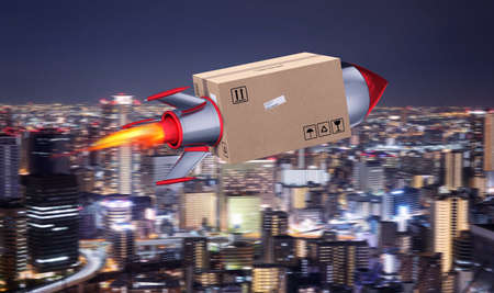Fast delivery of package by turbo rocket.