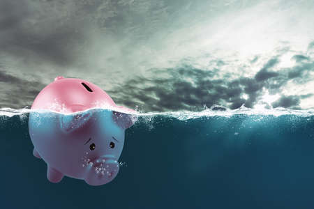 Lonely piggy bank sails in bad waters due to the crisis