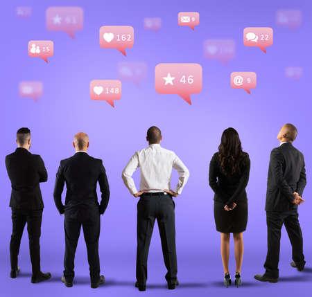 Communication and marketing department seeking popularity on social media Foto de archivo