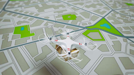 Flying shipment of a package by UAV drone with autonomous guide Standard-Bild