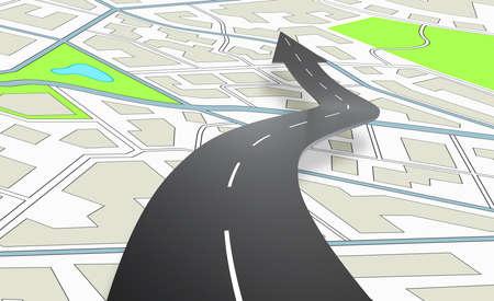 Carretera en forma de flecha que indica la dirección sobre un mapa de navegación. Representación 3D Foto de archivo