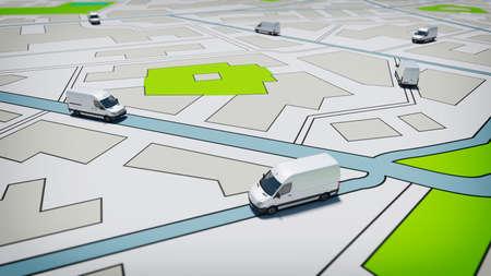 LKWs auf einem Straßenstadtplan. Konzept des globalen Versands und GPS-Tracking