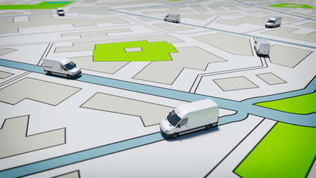 Trucks on a road city map. Concept of global shipment and GPS tracking