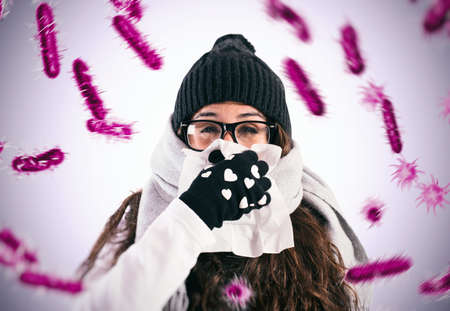 Defend against the flu and cold that are infected by viruses Stockfoto - 131257527