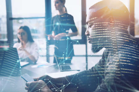 Businessman in office connected on internet network. concept of startup company. Double exposure Stockfoto