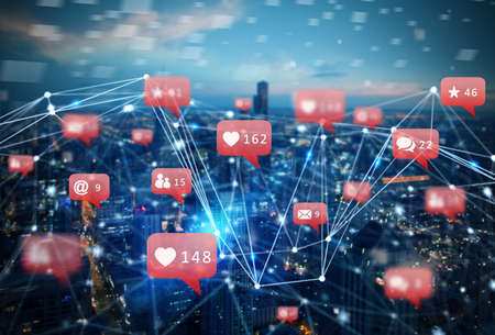 Internet network of a city with social network icon, heart, messages, emails Stockfoto - 131391906