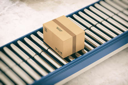 Closed cardboard boxes and wrapped with adhesive on conveyor roller