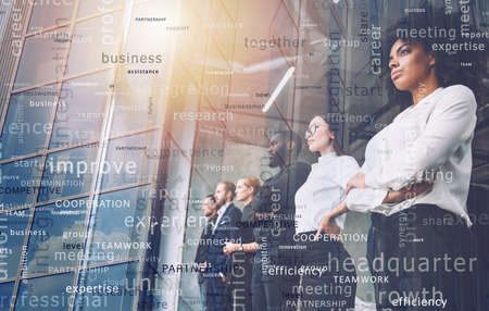 Business people in front of window look far. Future vision, teamwork startup an partnership concept. Double exposure