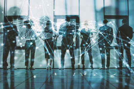 Network background concept with business people silhouette. Double exposure and network effects Banque d'images