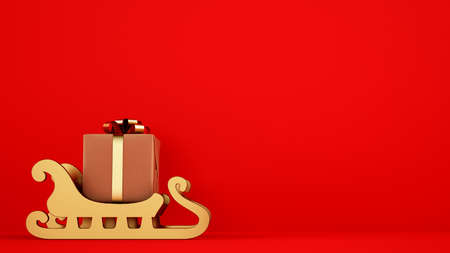 Isolated Christmas gift package on golden sleigh with red background Stock Photo